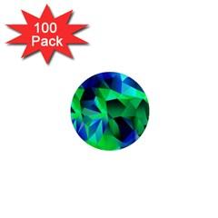 Galaxy Chevron Wave Woven Fabric Color Blu Green Triangle 1  Mini Magnets (100 Pack)  by Jojostore