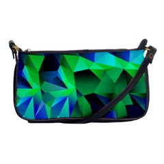 Galaxy Chevron Wave Woven Fabric Color Blu Green Triangle Shoulder Clutch Bags by Jojostore