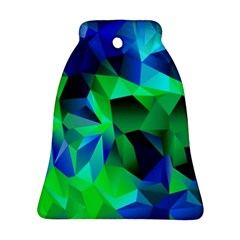 Galaxy Chevron Wave Woven Fabric Color Blu Green Triangle Bell Ornament (two Sides) by Jojostore