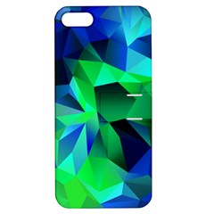 Galaxy Chevron Wave Woven Fabric Color Blu Green Triangle Apple Iphone 5 Hardshell Case With Stand by Jojostore