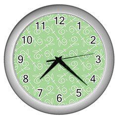 Formula Leaf Floral Green Wall Clocks (silver)  by Jojostore