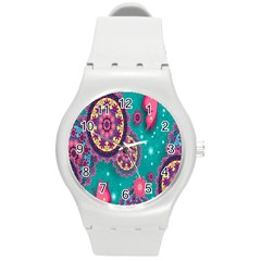 Vintage Butterfly Floral Flower Rose Star Purple Pink Green Yellow Animals Fly Round Plastic Sport Watch (m) by Jojostore