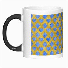 Diamond Heart Card Valentine Love Blue Yellow Gold Morph Mugs by Jojostore
