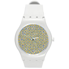 Diamond Heart Card Valentine Love Blue Yellow Gold Round Plastic Sport Watch (m) by Jojostore