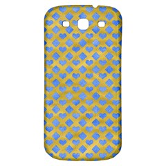 Diamond Heart Card Valentine Love Blue Yellow Gold Samsung Galaxy S3 S Iii Classic Hardshell Back Case by Jojostore