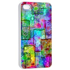 Rainbow Floral Doodle Apple Iphone 4/4s Seamless Case (white)