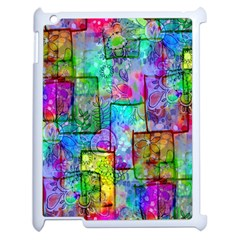 Rainbow Floral Doodle Apple Ipad 2 Case (white) by KirstenStar