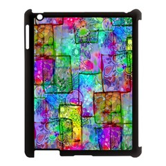 Rainbow Floral Doodle Apple Ipad 3/4 Case (black) by KirstenStar