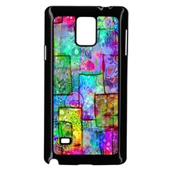 Rainbow Floral Doodle Samsung Galaxy Note 4 Case (black) by KirstenStar