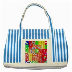 Abstract Polka Dot Pattern Striped Blue Tote Bag by Nexatart