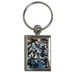 Blue Water Camouflage Key Chains (rectangle)  by Nexatart