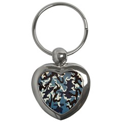 Blue Water Camouflage Key Chains (heart)  by Nexatart