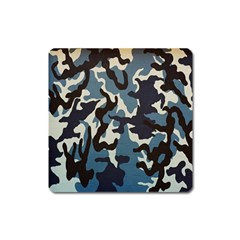 Blue Water Camouflage Square Magnet by Nexatart