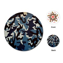 Blue Water Camouflage Playing Cards (round)