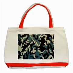 Blue Water Camouflage Classic Tote Bag (Red) by Nexatart