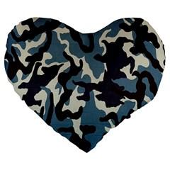 Blue Water Camouflage Large 19  Premium Flano Heart Shape Cushions