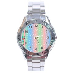 Christmas Happy Holidays Snowflakes Stainless Steel Analogue Watch