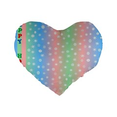 Christmas Happy Holidays Snowflakes Standard 16  Premium Flano Heart Shape Cushions by Nexatart