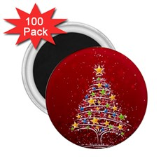 Colorful Christmas Tree 2 25  Magnets (100 Pack)