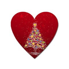 Colorful Christmas Tree Heart Magnet by Nexatart