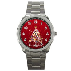 Colorful Christmas Tree Sport Metal Watch by Nexatart