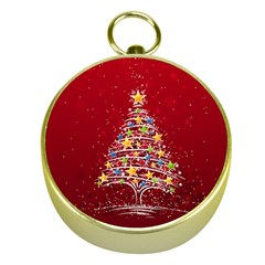 Colorful Christmas Tree Gold Compasses