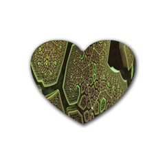 Fractal Complexity 3d Dimensional Rubber Coaster (heart)  by Nexatart