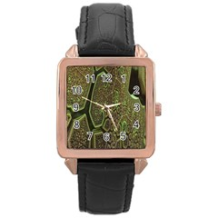 Fractal Complexity 3d Dimensional Rose Gold Leather Watch