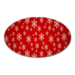 Christmas Snow Flake Pattern Oval Magnet