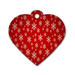 Christmas Snow Flake Pattern Dog Tag Heart (two Sides)