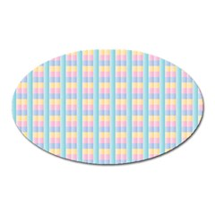 Grid Squares Texture Pattern Oval Magnet