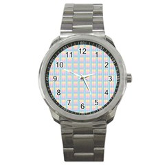 Grid Squares Texture Pattern Sport Metal Watch