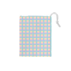 Grid Squares Texture Pattern Drawstring Pouches (small)