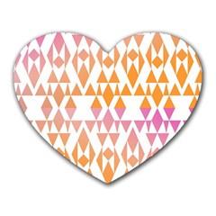 Geometric Abstract Orange Purple Pattern Heart Mousepads by Nexatart