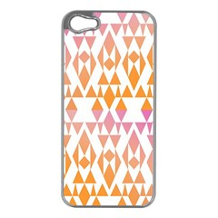 Geometric Abstract Orange Purple Pattern Apple Iphone 5 Case (silver)