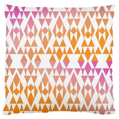 Geometric Abstract Orange Purple Pattern Large Flano Cushion Case (two Sides) by Nexatart