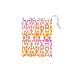 Geometric Abstract Orange Purple Pattern Drawstring Pouches (xs)  by Nexatart