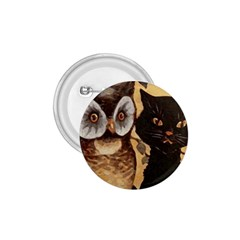 Owl And Black Cat 1 75  Buttons by Nexatart