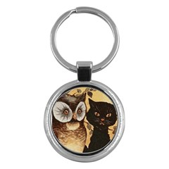 Owl And Black Cat Key Chains (round)  by Nexatart
