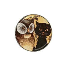 Owl And Black Cat Hat Clip Ball Marker (4 Pack) by Nexatart