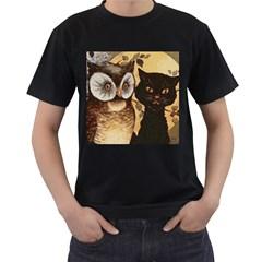 Owl And Black Cat Men s T Shirt (black)