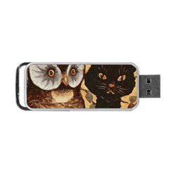 Owl And Black Cat Portable Usb Flash (one Side) by Nexatart