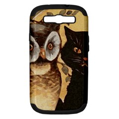 Owl And Black Cat Samsung Galaxy S III Hardshell Case (PC+Silicone) by Nexatart