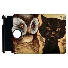 Owl And Black Cat Apple Ipad 2 Flip 360 Case