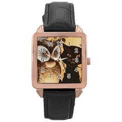 Owl And Black Cat Rose Gold Leather Watch