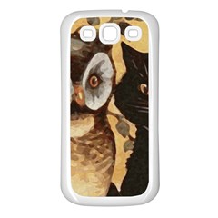 Owl And Black Cat Samsung Galaxy S3 Back Case (White)