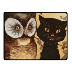 Owl And Black Cat Double Sided Fleece Blanket (small)