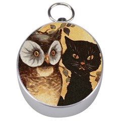 Owl And Black Cat Silver Compasses