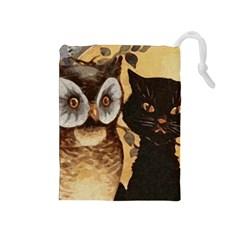 Owl And Black Cat Drawstring Pouches (medium)