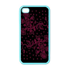 Pink Floral Pattern Background Wallpaper Apple Iphone 4 Case (color) by Nexatart